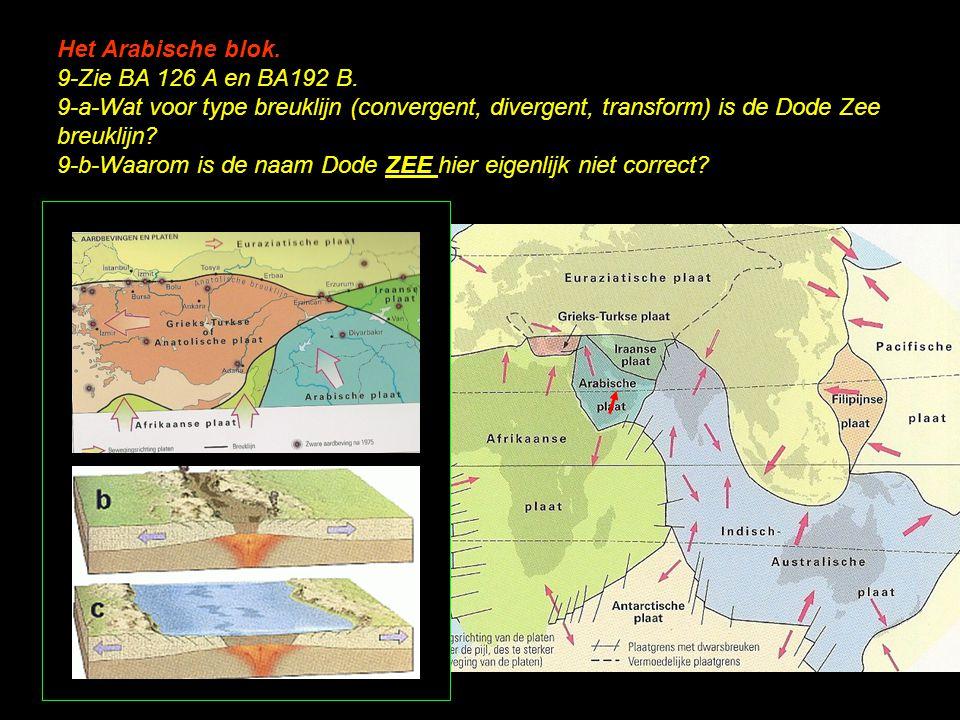 Het Arabische blok. 9-Zie BA 126 A en BA192 B. 9-a-Wat voor type breuklijn (convergent, divergent, transform) is de Dode Zee breuklijn