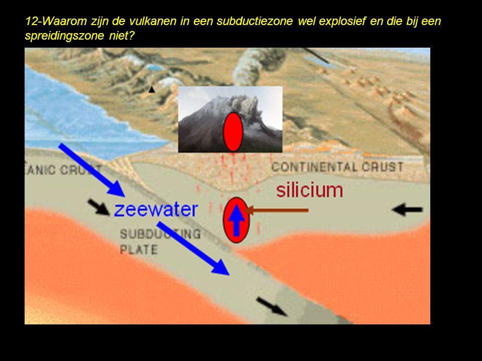 12-Waarom zijn de vulkanen in een subductiezone wel explosief en die bij een spreidingszone niet