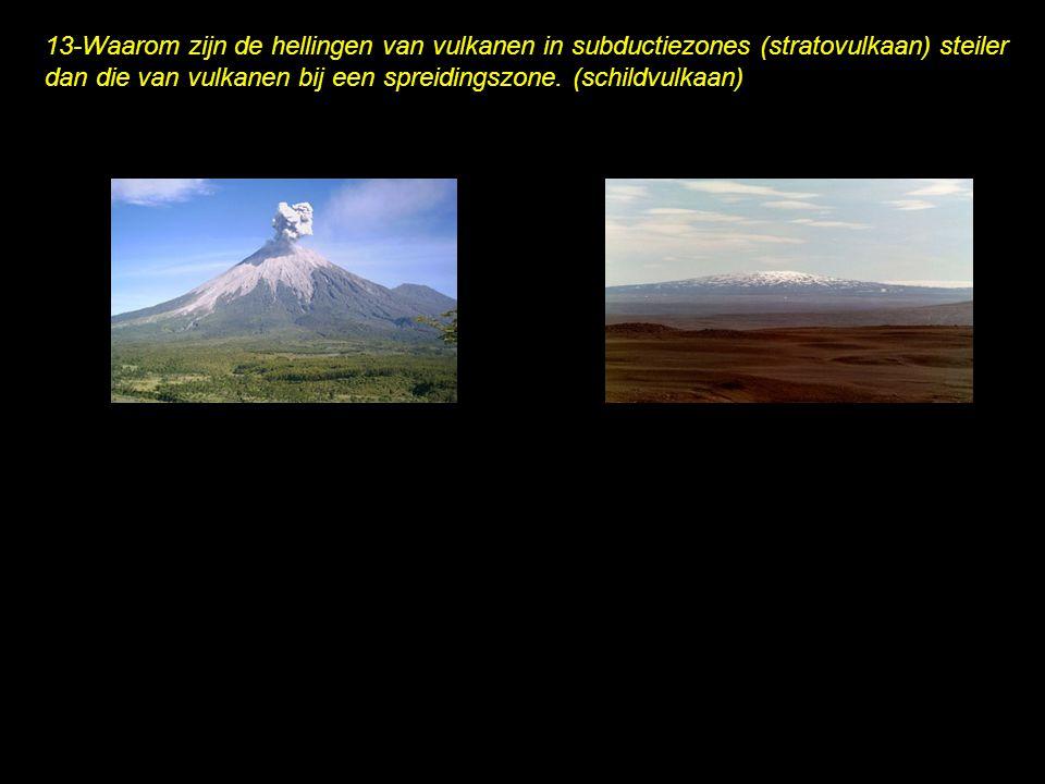 13-Waarom zijn de hellingen van vulkanen in subductiezones (stratovulkaan) steiler dan die van vulkanen bij een spreidingszone.