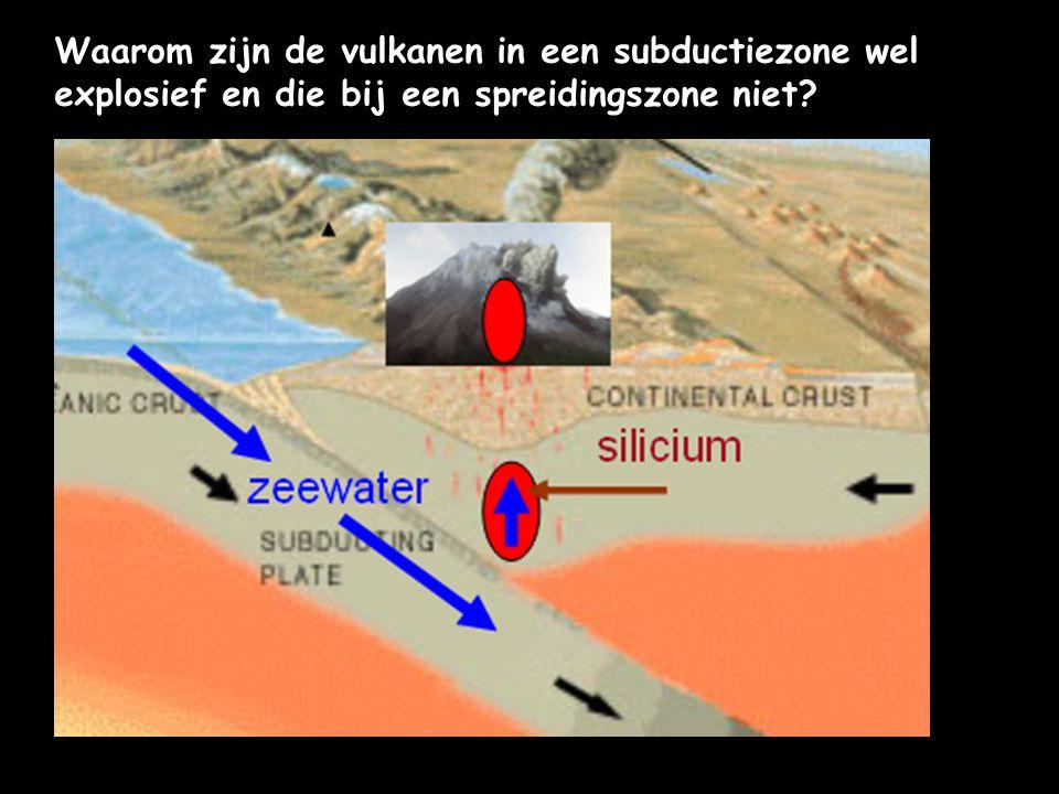 Waarom zijn de vulkanen in een subductiezone wel explosief en die bij een spreidingszone niet
