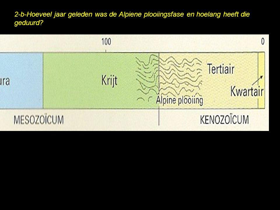 2-b-Hoeveel jaar geleden was de Alpiene plooiingsfase en hoelang heeft die geduurd