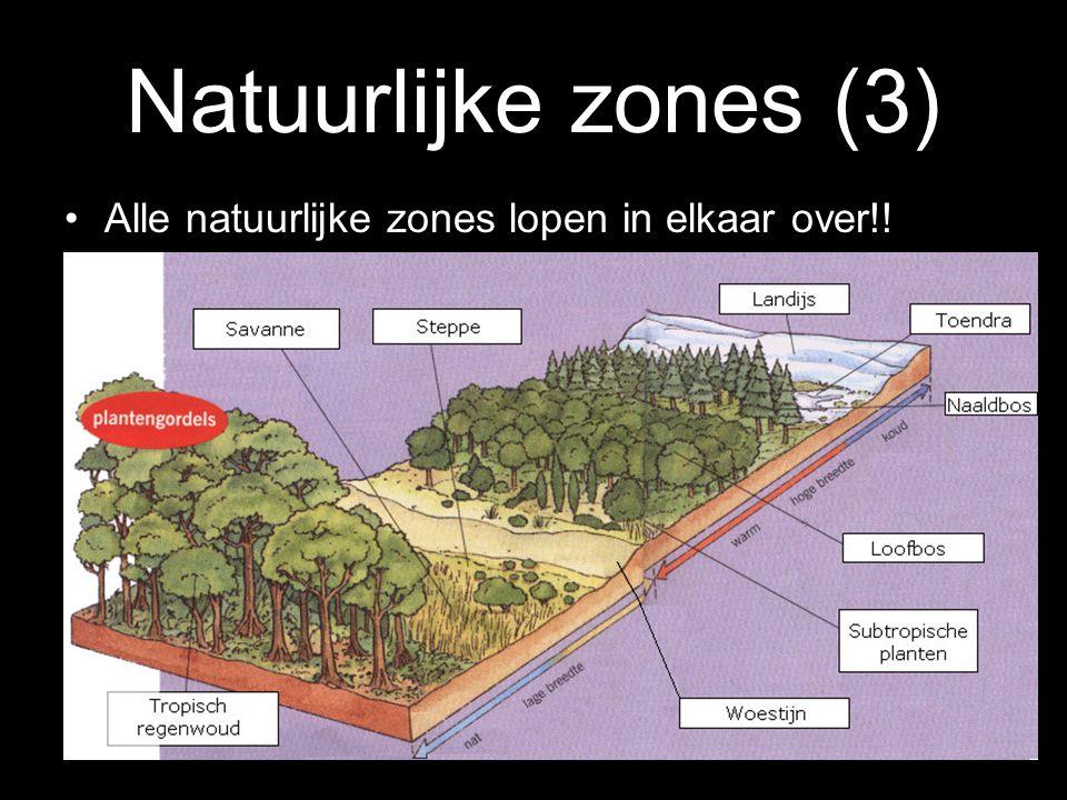 Natuurlijke zones (3) Alle natuurlijke zones lopen in elkaar over!!