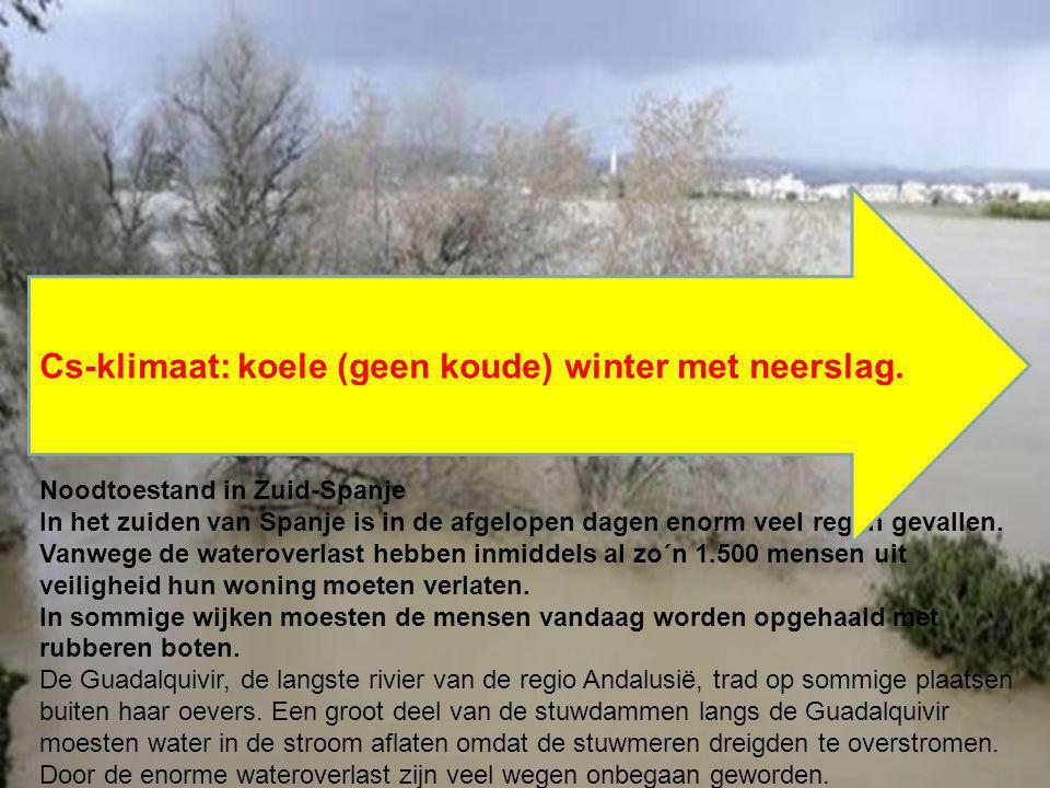 Cs-klimaat: koele (geen koude) winter met neerslag.