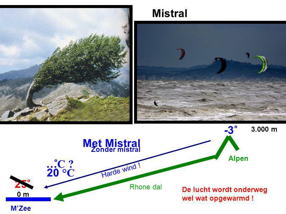 Mistral -3 ͦ Met Mistral …ͦC 20 °C 25 ͦ 3.000 m Zonder mistral Alpen