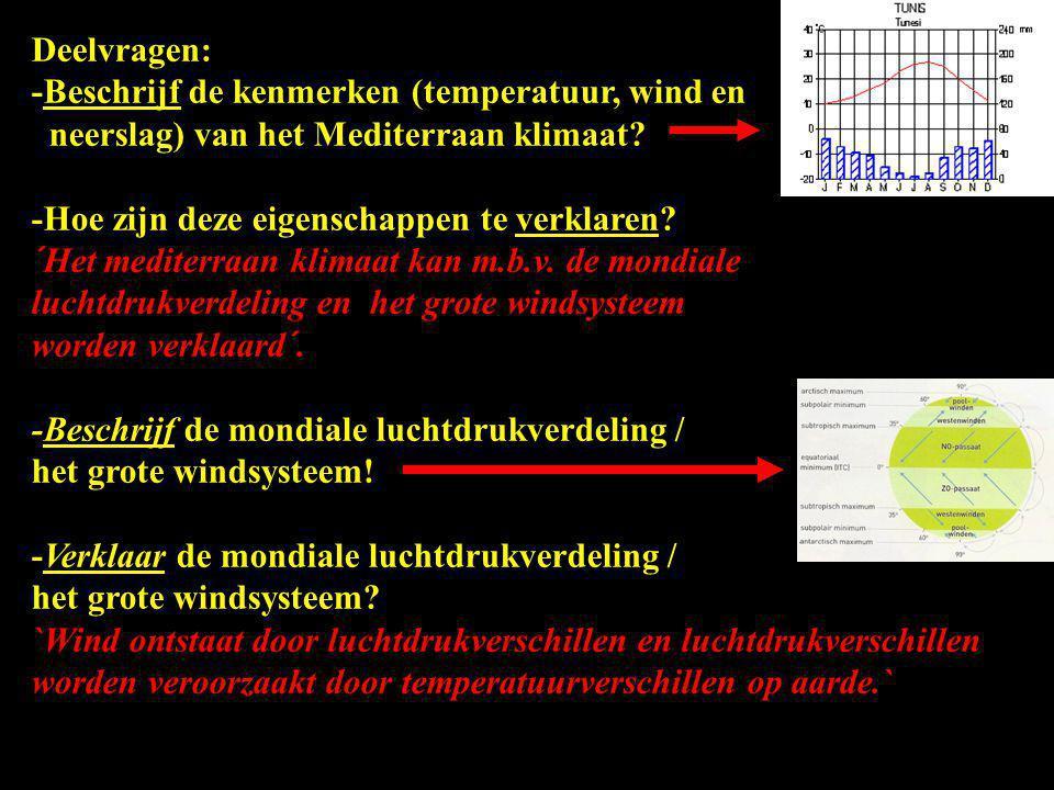 Deelvragen: -Beschrijf de kenmerken (temperatuur, wind en neerslag) van het Mediterraan klimaat