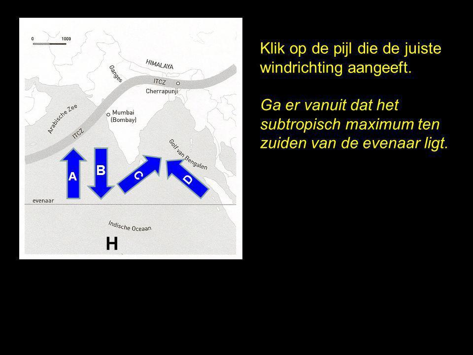H Klik op de pijl die de juiste windrichting aangeeft.
