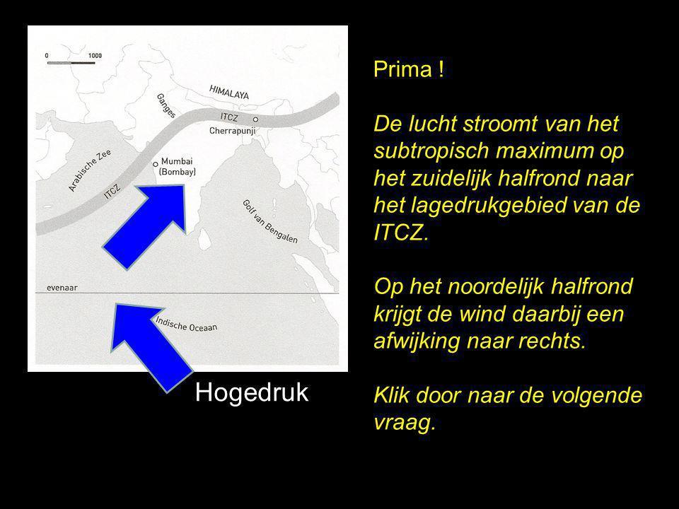 Prima ! De lucht stroomt van het subtropisch maximum op het zuidelijk halfrond naar het lagedrukgebied van de ITCZ.