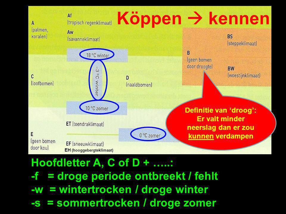 Köppen  kennen Hoofdletter A, C of D + …..: