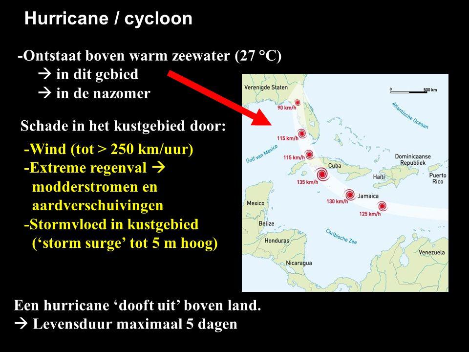 Hurricane / cycloon -Ontstaat boven warm zeewater (27 °C)  in dit gebied.  in de nazomer. Schade in het kustgebied door:
