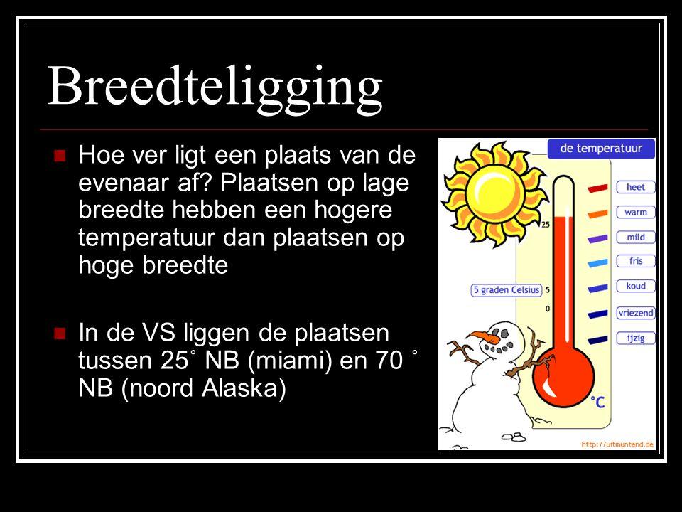 Breedteligging Hoe ver ligt een plaats van de evenaar af Plaatsen op lage breedte hebben een hogere temperatuur dan plaatsen op hoge breedte.