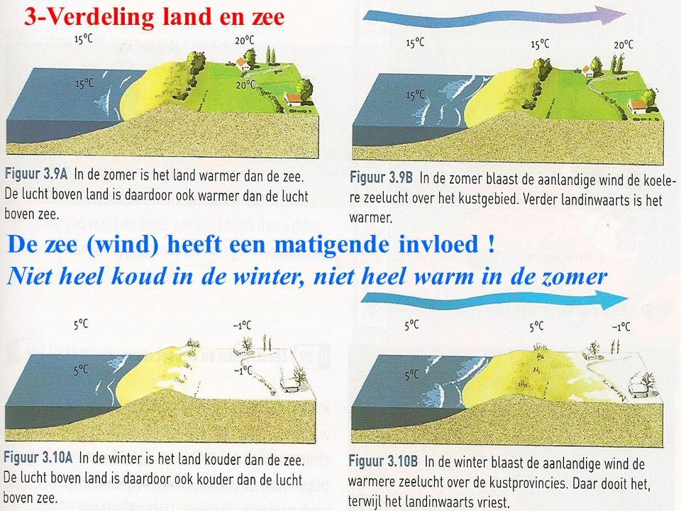 3-Verdeling land en zee De zee (wind) heeft een matigende invloed .