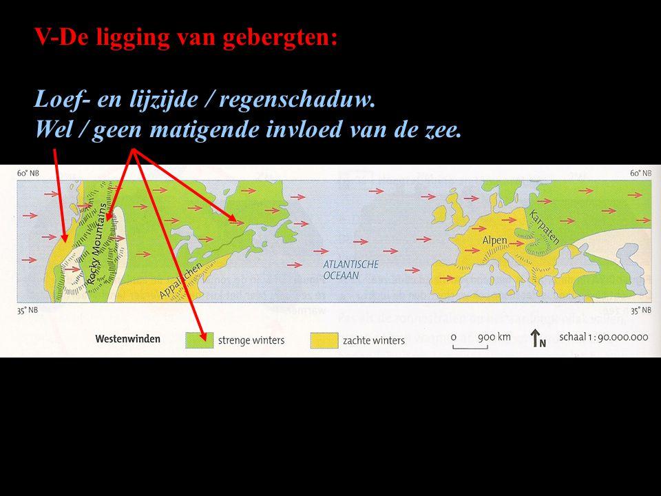 V-De ligging van gebergten: