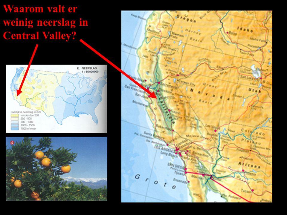 Waarom valt er weinig neerslag in Central Valley