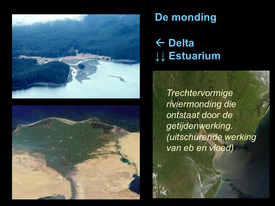 De monding  Delta ↓↓ Estuarium