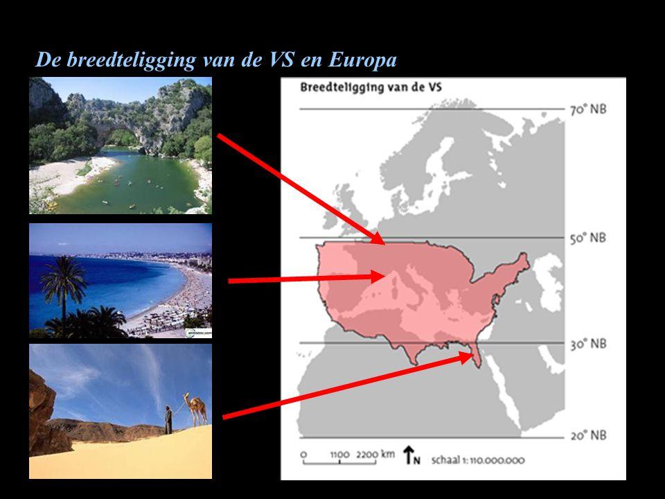 De breedteligging van de VS en Europa