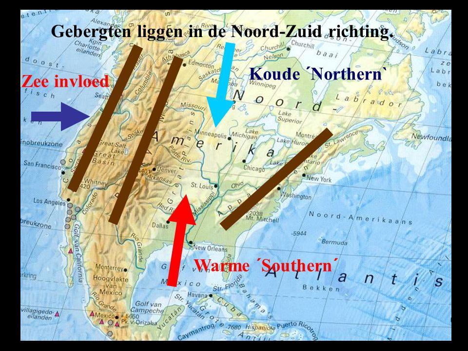 Gebergten liggen in de Noord-Zuid richting.