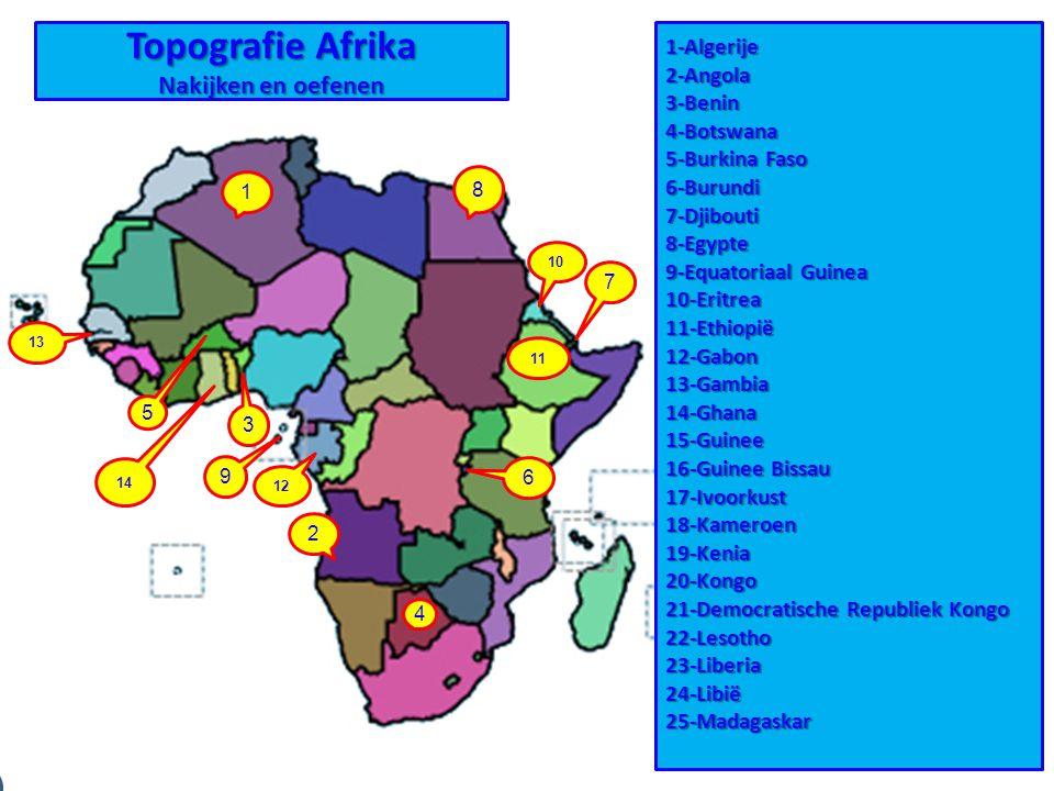 Topografie Afrika Nakijken en oefenen