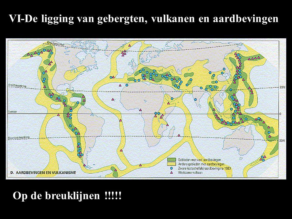 VI-De ligging van gebergten, vulkanen en aardbevingen