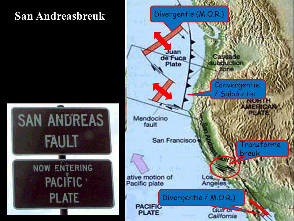 San Andreasbreuk Divergentie (M.O.R.) Convergentie / Subductie