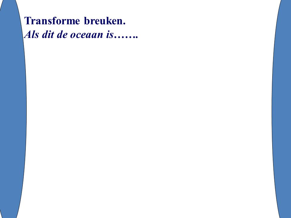 Transforme breuken. Als dit de oceaan is…….