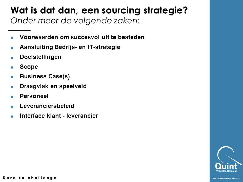 Wat is dat dan, een sourcing strategie Onder meer de volgende zaken: