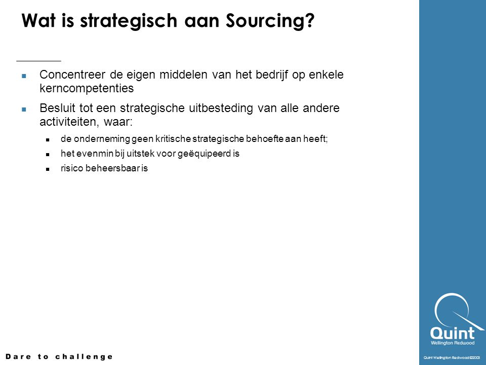 Wat is strategisch aan Sourcing