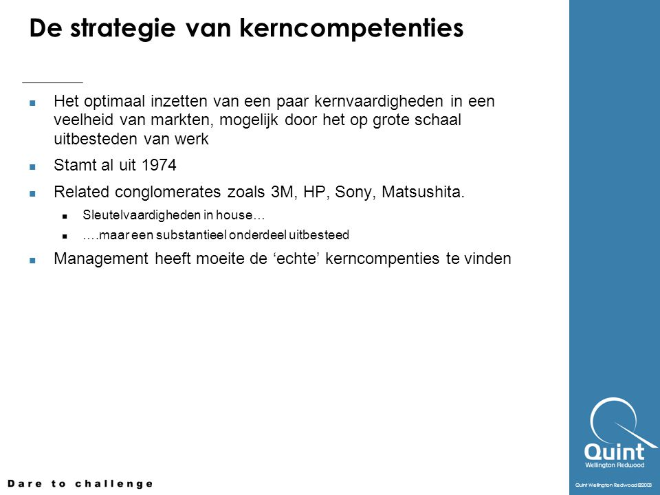 De strategie van kerncompetenties
