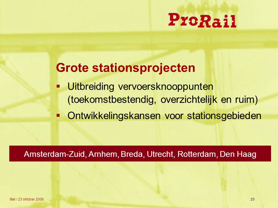 Grote stationsprojecten