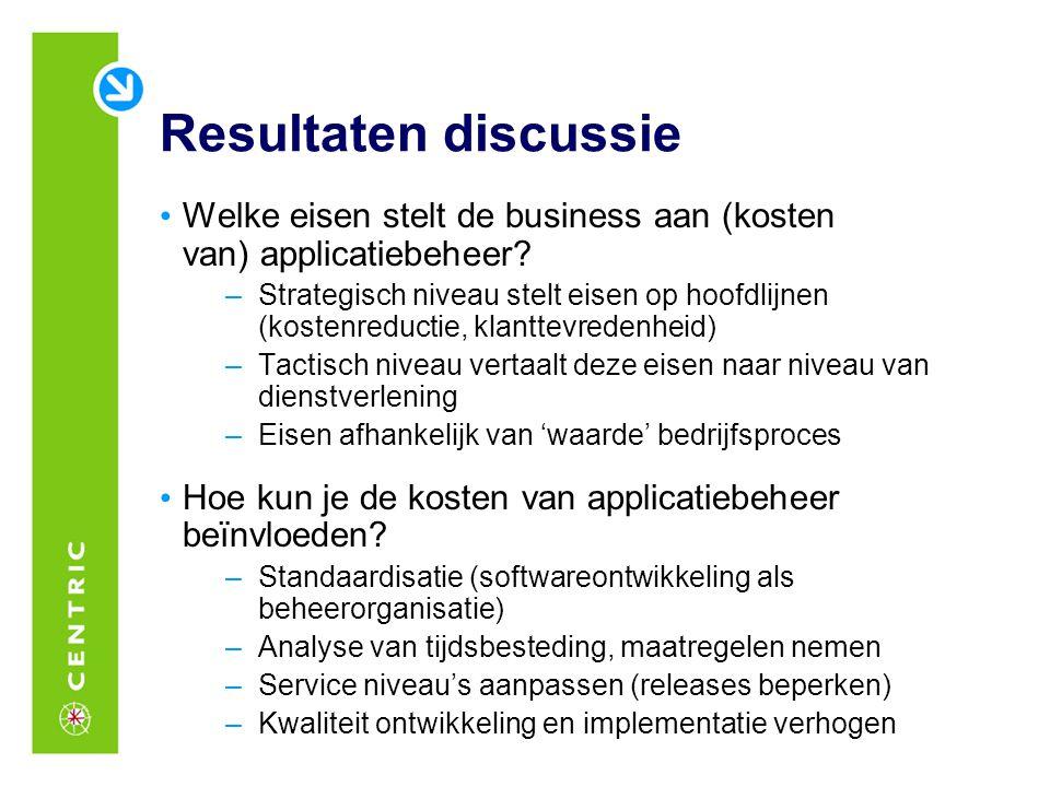 Resultaten discussie Welke eisen stelt de business aan (kosten van) applicatiebeheer