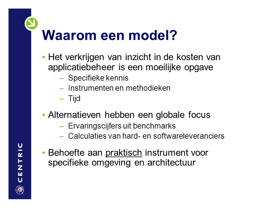 Waarom een model Het verkrijgen van inzicht in de kosten van applicatiebeheer is een moeilijke opgave.
