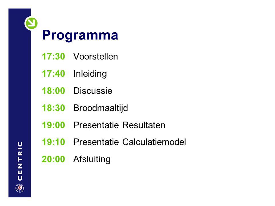 Programma 17:30 Voorstellen 17:40 Inleiding 18:00 Discussie