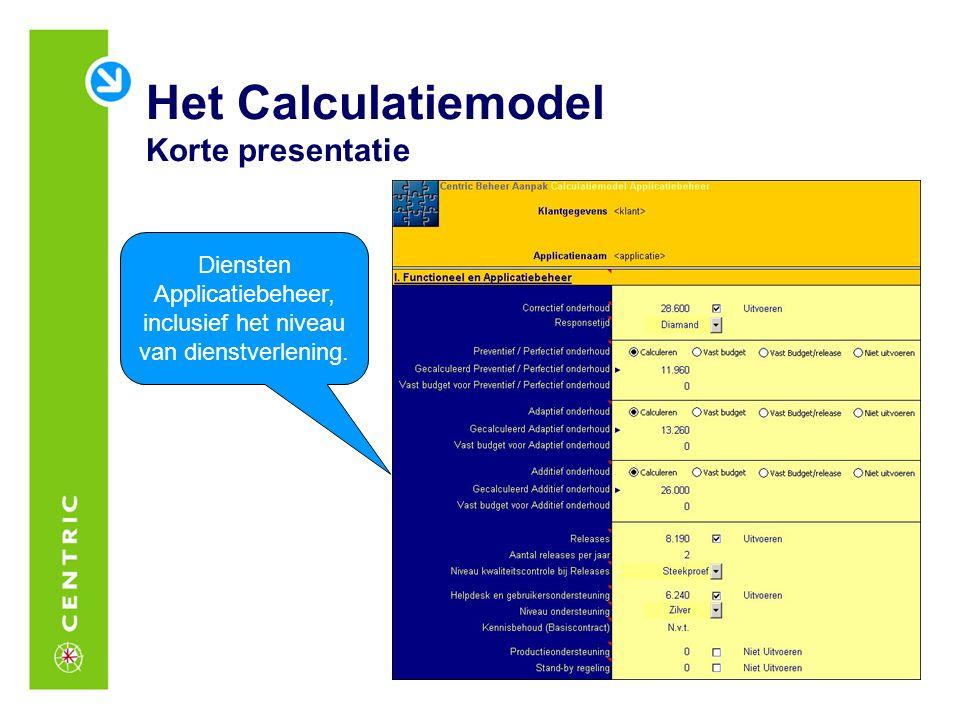 Het Calculatiemodel Korte presentatie
