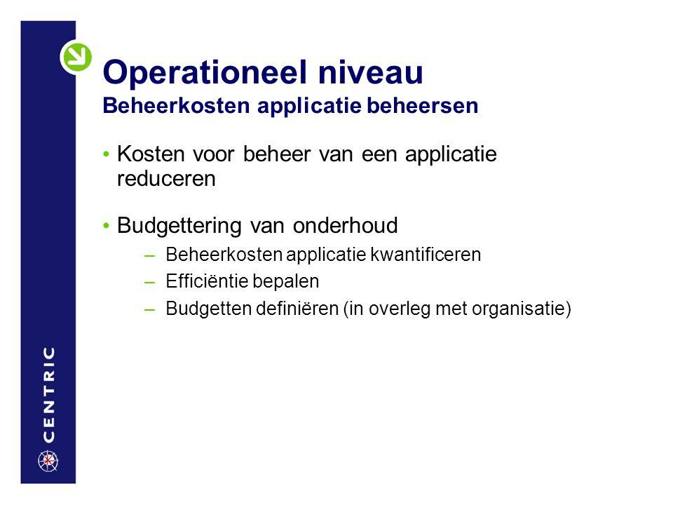 Operationeel niveau Beheerkosten applicatie beheersen
