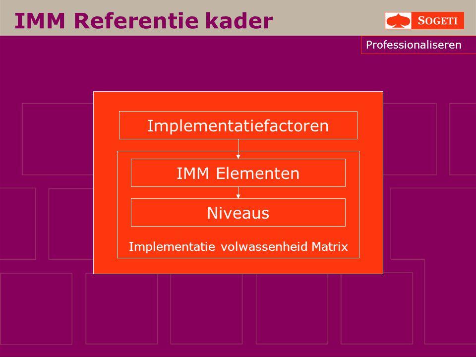 IMM Referentie kader Implementatiefactoren IMM Elementen Implem
