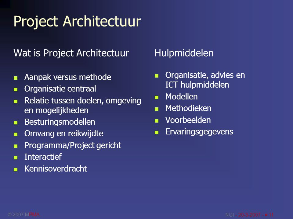 Project Architectuur Wat is Project Architectuur Hulpmiddelen