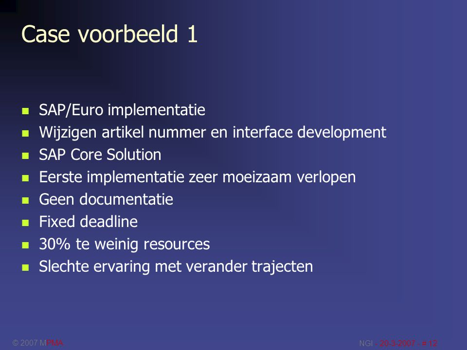 Case voorbeeld 1 SAP/Euro implementatie