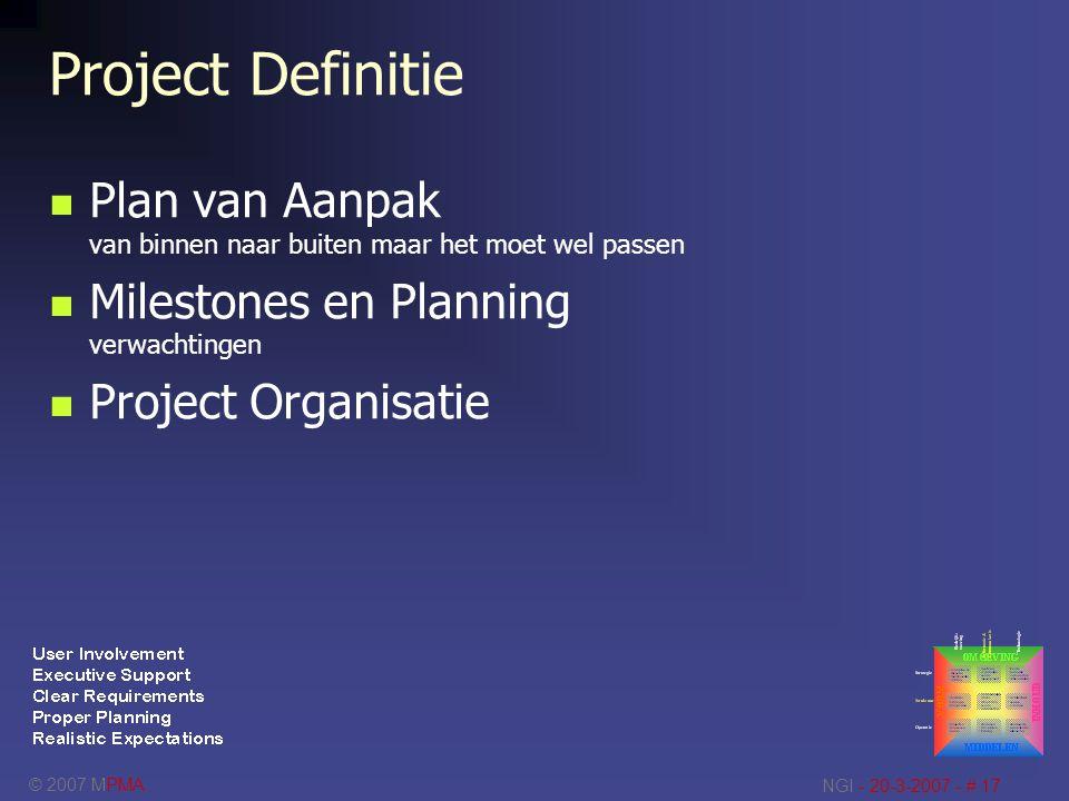 Project Definitie Plan van Aanpak van binnen naar buiten maar het moet wel passen. Milestones en Planning verwachtingen.