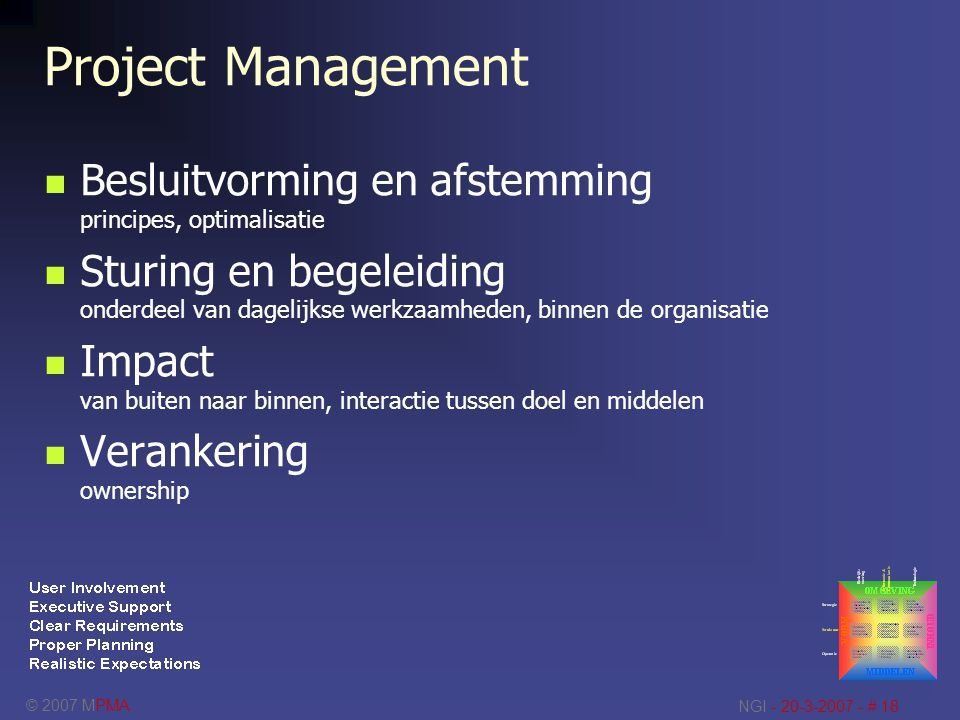 Project Management Besluitvorming en afstemming principes, optimalisatie.