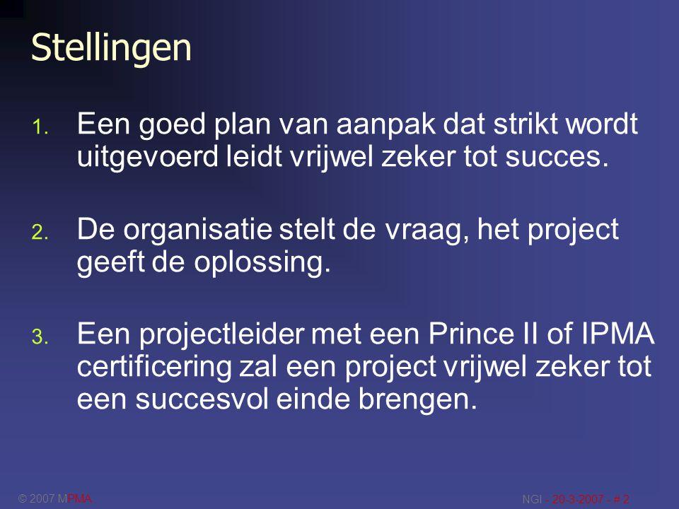 Stellingen Een goed plan van aanpak dat strikt wordt uitgevoerd leidt vrijwel zeker tot succes.