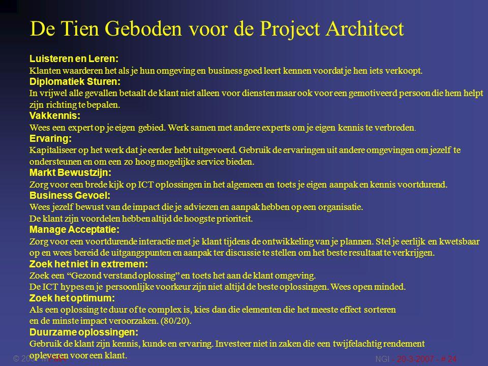 De Tien Geboden voor de Project Architect