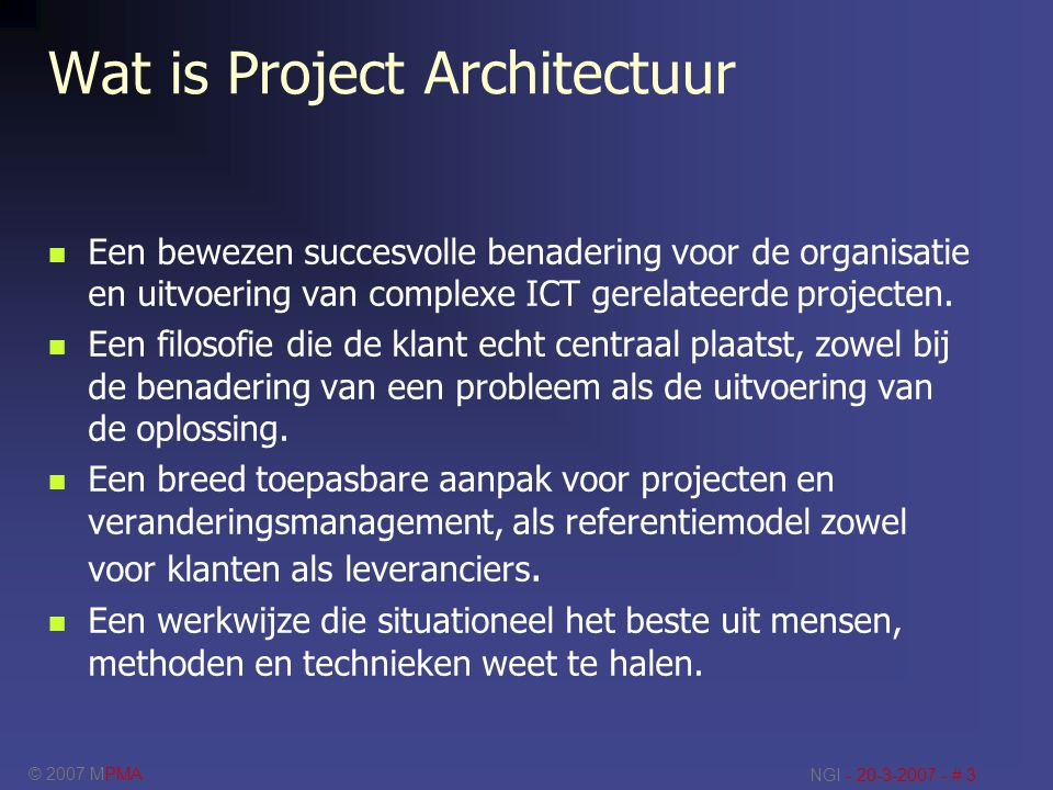 Wat is Project Architectuur