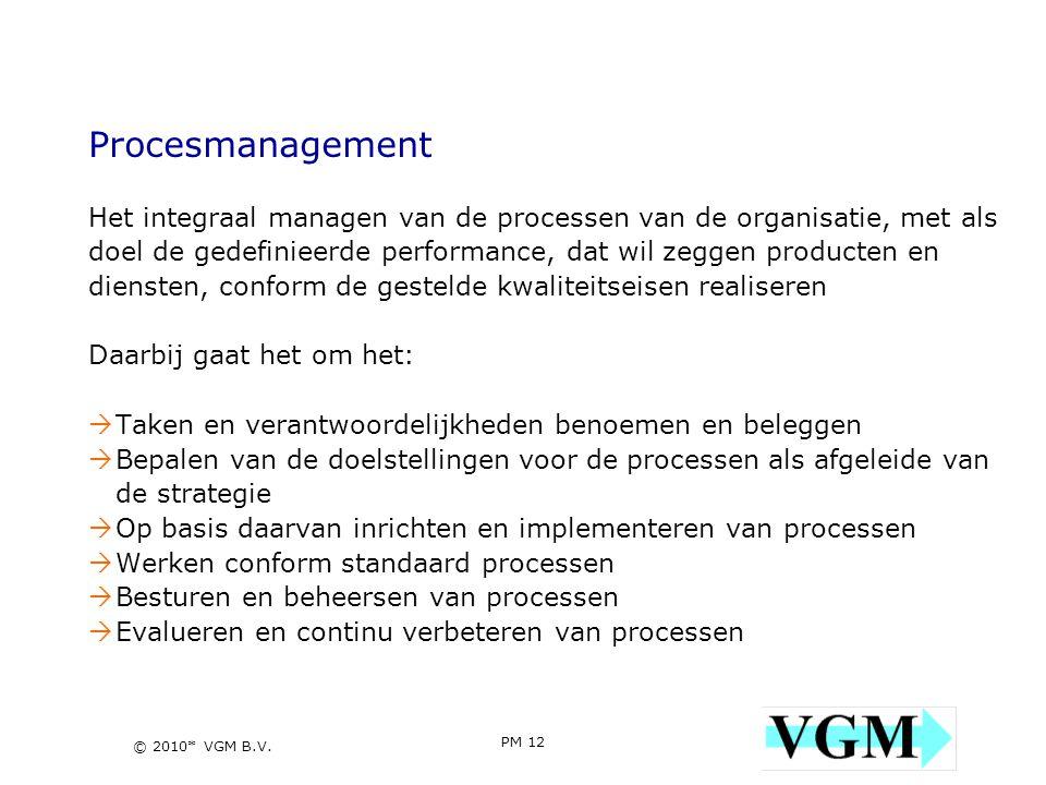 Procesmanagement Het integraal managen van de processen van de organisatie, met als. doel de gedefinieerde performance, dat wil zeggen producten en.