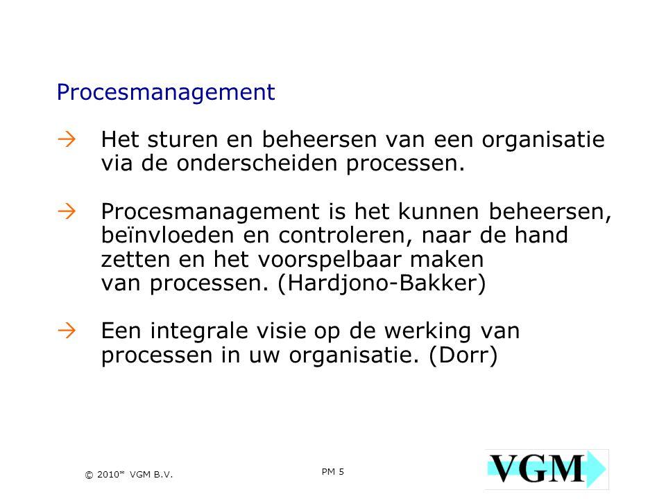 Procesmanagement Het sturen en beheersen van een organisatie via de onderscheiden processen.