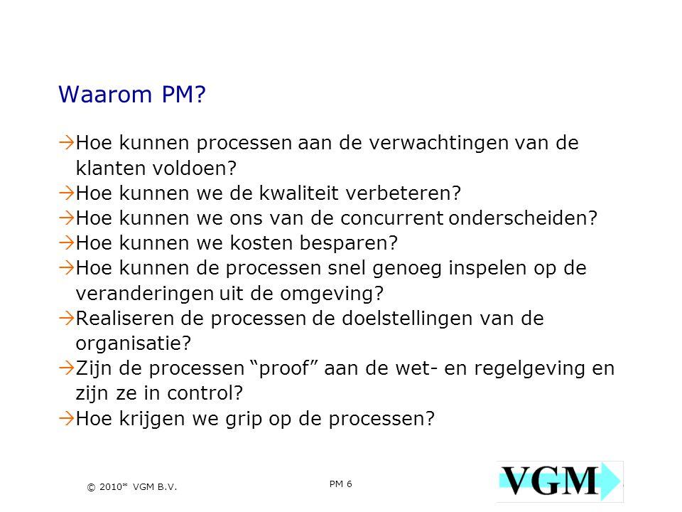 Waarom PM Hoe kunnen processen aan de verwachtingen van de klanten voldoen Hoe kunnen we de kwaliteit verbeteren