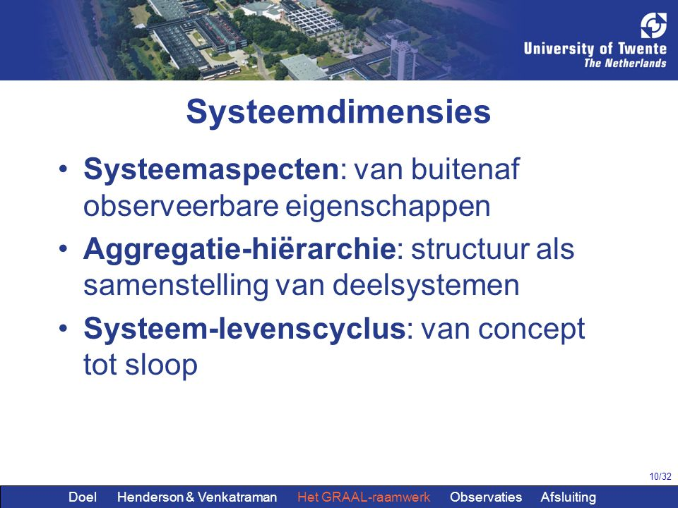 Systeemdimensies Systeemaspecten: van buitenaf observeerbare eigenschappen. Aggregatie-hiërarchie: structuur als samenstelling van deelsystemen.