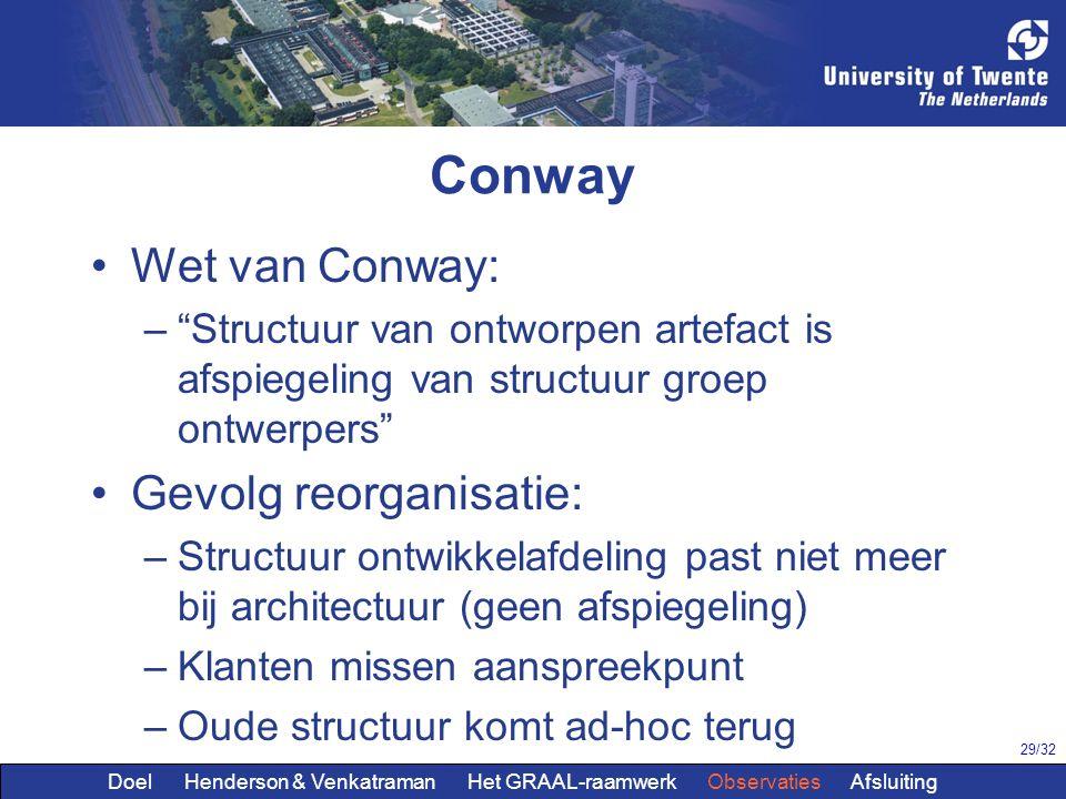 Conway Wet van Conway: Gevolg reorganisatie:
