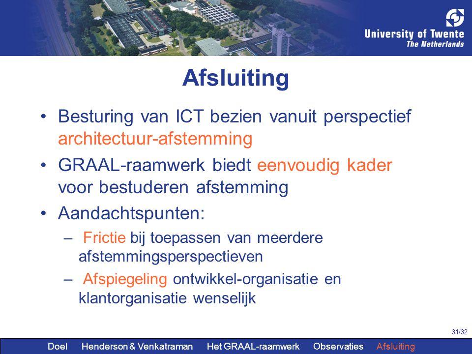 Afsluiting Besturing van ICT bezien vanuit perspectief architectuur-afstemming. GRAAL-raamwerk biedt eenvoudig kader voor bestuderen afstemming.
