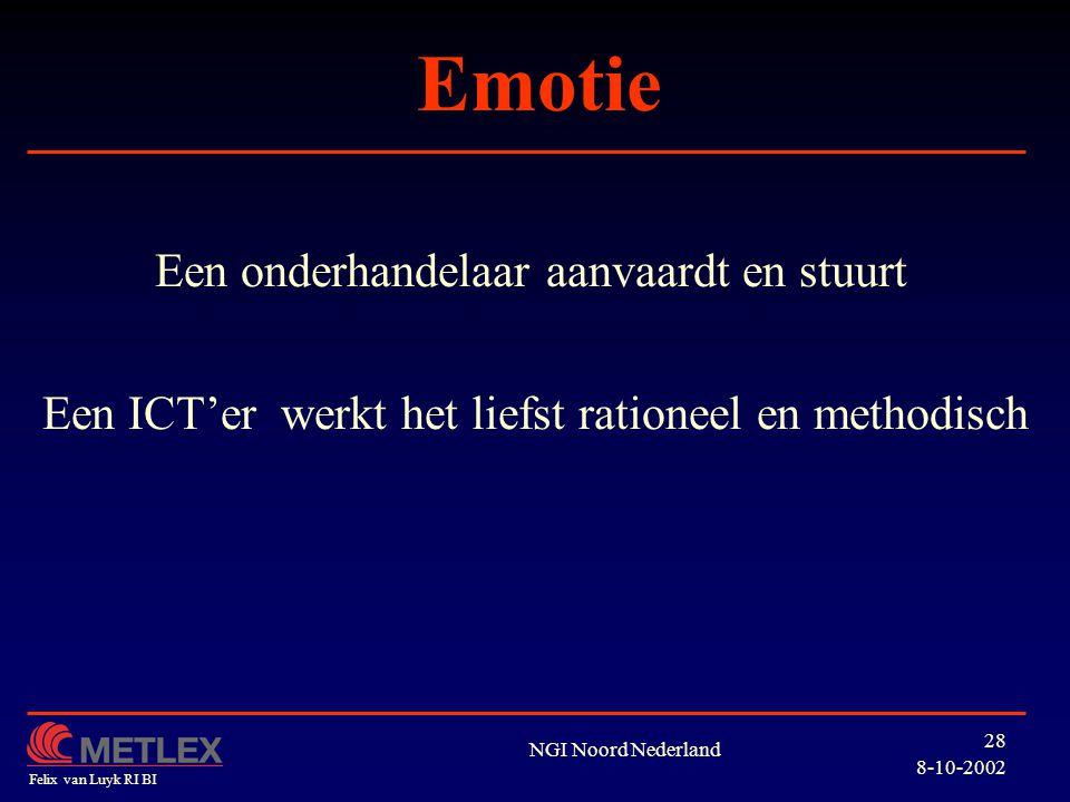 Emotie Een onderhandelaar aanvaardt en stuurt