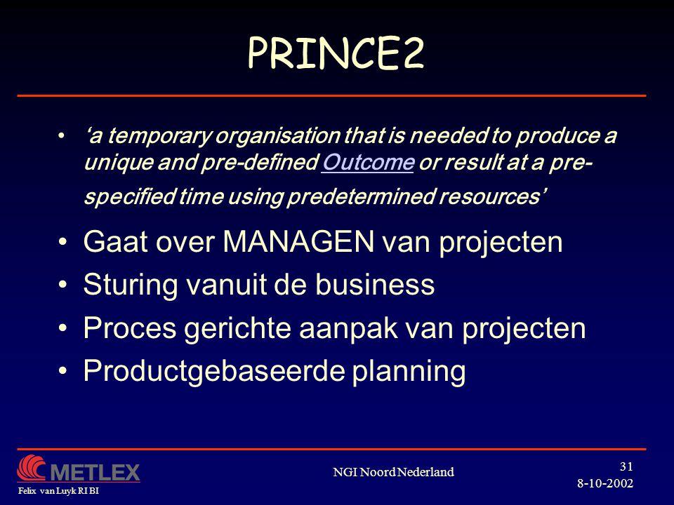 PRINCE2 Gaat over MANAGEN van projecten Sturing vanuit de business