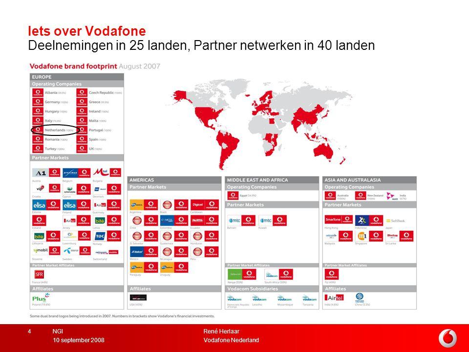 Iets over Vodafone Deelnemingen in 25 landen, Partner netwerken in 40 landen